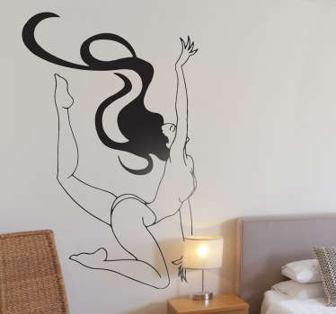 From our collection of erotic wall stickers, a design of a naked woman doing a sensual and acrobatic pose with her long hair flowing behind her.