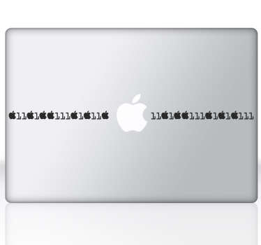 Mac sticker with a fun design of an apple binary code, great for customising your Macbook.