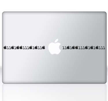 Sticker Apple code binaire Macbook