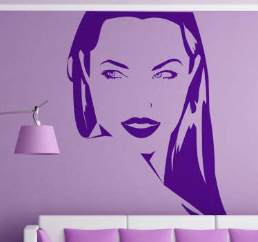 Original sticker depicting Angelina Jolie - your favourite actress! Decorate your bedroom or living room with this stunning sticker!
