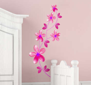 Floral design of pink flowers with purple centres. A beautiful feature for any room. Available in various sizes. Easy to apply