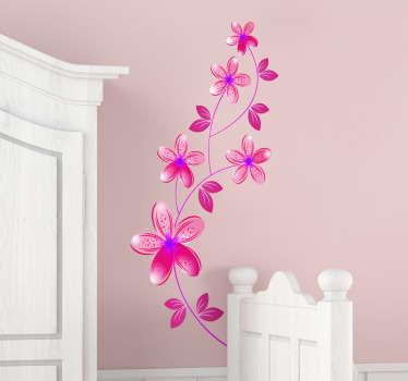 Sticker roze bloemen