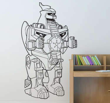 A spectacular robot from the famous series, Power Rangers Mighty Power. This dragonzord design is from our collection of robot wall stickers.