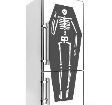 A creepy sticker of a skeleton inside a coffin, ideal for decorating your home or business this Halloween.