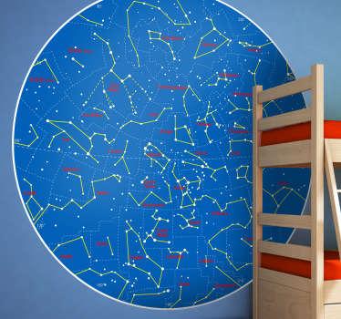 Planisferio adhesivo con las estrellas que se pueden observar desde tierras sureñas.