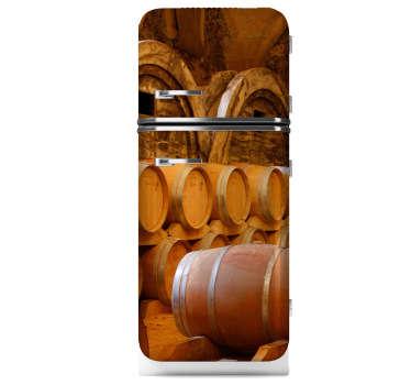 Sticker ijskast vaten wijn
