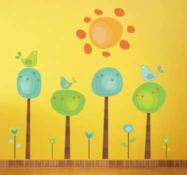 A playful and colourful illustrations of four trees and three birds under a blazing sun. Brilliant design from our collection of teal wall stickers.