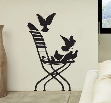 Wall Stickers - Silhouette illustration of a chair with various birds fluttering around. Distinctive feature for your living room.