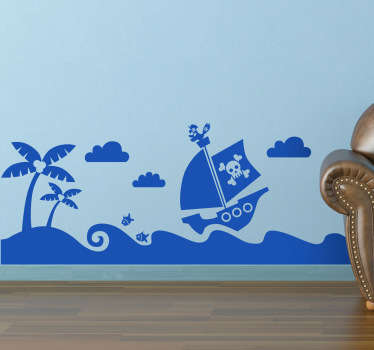 A fantastic monochrome design for kids from our collection of pirates wall stickers. Is your child a big fan of pirates and treasure hunting?