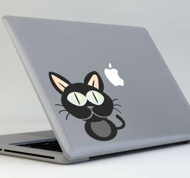 Autocollant macbook chat noir
