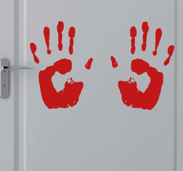 Room Stickers - A horror movie theme design. Bloody hand prints. Decals great for decorating your home.