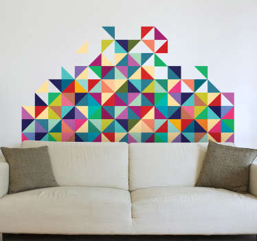This geometric wall sticker is an original and colourful design of triangular and square patterns, from our modern wall stickers collection. This design brings a lively atmosphere to any bedroom, dining room or living room thanks to its many vibrant colours.