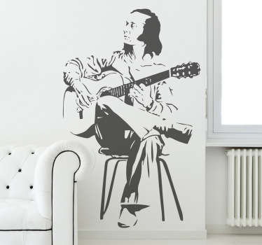 Music wall sticker illustrating the famous Spanish guitarist, Paco de Lucia. An ideal decoration for flamenco fans. Choose your size.