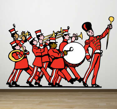 This wall sticker of an already playing marching band is ideal for environments with children.