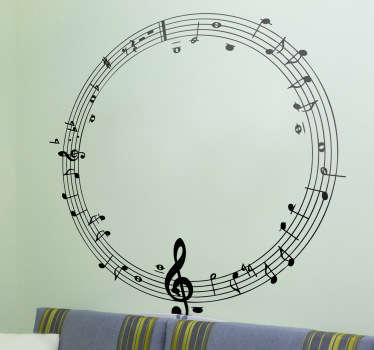 Do you really love music? Then this wall sticker of a musical notes in a circle is ideal for the decoration of your home.