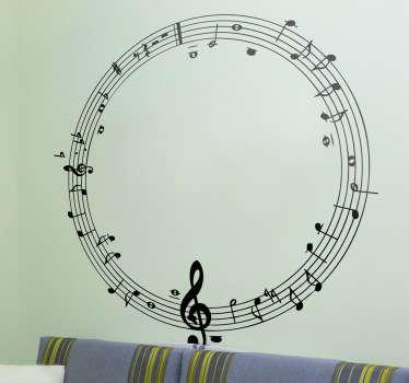 Sticker ronde muzieklijn