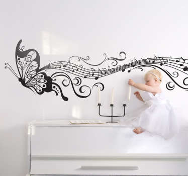 A monochrome decal illustrating a butterfly flying and leaving beautiful musical notes traces behind.