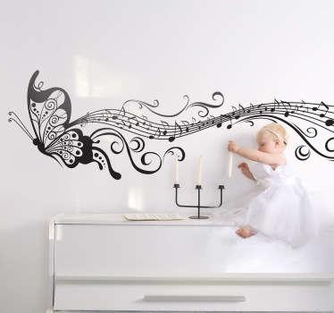 Naklejka na ścianę motyl i muzyka
