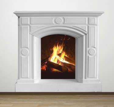 Murales 3D effetto fuoco camino