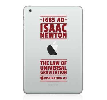 iPad Stickers - The law of universal gravitation by Sir Isaac Newton, an historic English physicist and mathematician.