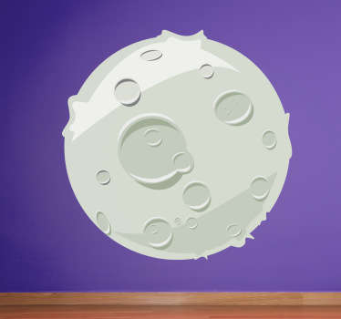 Denna tecknad måneväggmall visar en enkel men rolig design av månen med alla dess kratrar, från vår samling av rymdväggdekaler. Denna barnmuren klistermärke är perfekt för att dekorera sitt sovrum eller plantskola för att verkligen ställa stämningen och lägga till den sista touchen till heminredningen.