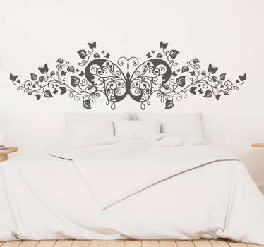 Sticker mural plante papillons