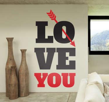 Sticker décoratif I love you texte flèche