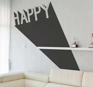 "Wall Art - Original 3D illustration of the word ""Happy"". Simple and strong design ideal for homes and businesses. Fill your space with positivity."