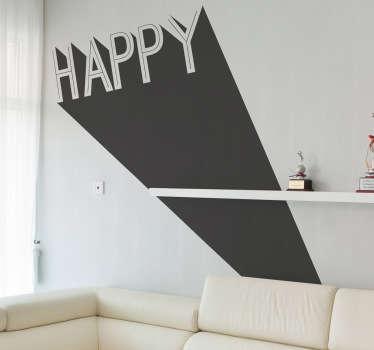 Stencil 3D scritta happy