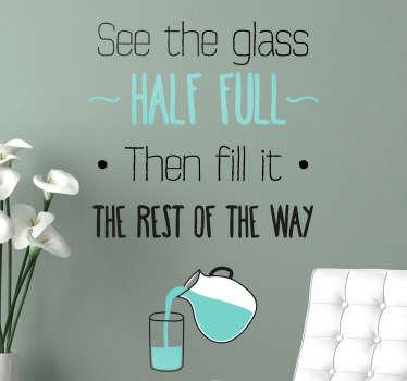 Glass Half Full Wall Sticker