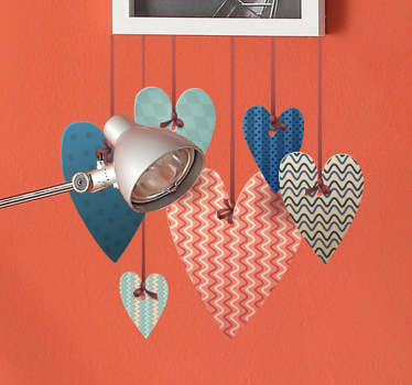 A fantastic design illustrating hanging hearts from our collection of heart stickers to decorate your home.