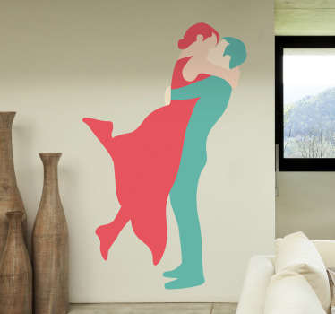 A romantic sticker of a couple engaged in a loving moment. This pastel coloured decal will look great in any room.