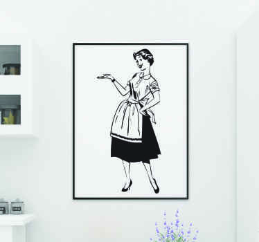 A detailed illustration with a vintage design of a young and elegant housewife. Brilliant vintage decal from our collection of retro wall stickers.
