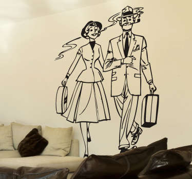 Autocollant mural rétro voyage couple