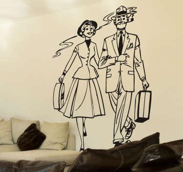 Vinilo decorativo pareja cincuentas