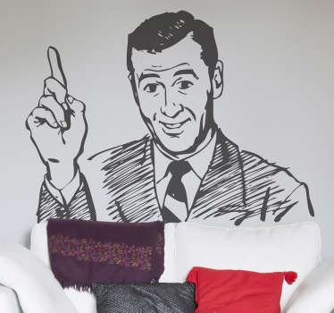 A drawing design illustrating a gentleman pointing at something! Vintage decal from our collection of retro wall stickers to decorate your home.