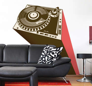 Wall Stickers - Urban illustration of a DJ turntable. Ideal for aspiring DJs, musicians and music lovers. Available in various sizes.