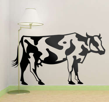 Wall Stickers - Illustration of a cow. Available in various sizes and in 50 colours. Made from high quality vinyl. Easy to apply and easily removable.