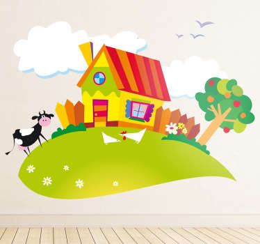 Kids Wall Stickers - Colourful and vibrant illustration of a farm house during the summer including a cow and chickens.