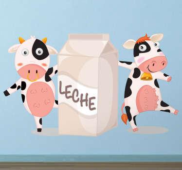 Divertida pegatina con la que podrás animar a los más pequeños a que beban leche.