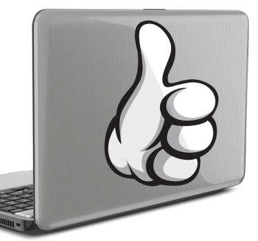 Sticker laptop duim omhoog