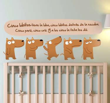 Vinilo infantil canción cinco lobitos