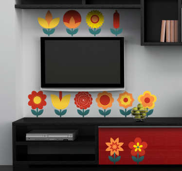 Decals - Collection of a dozen warm colourful flowers for you to position around your home. Ideal for decorating walls