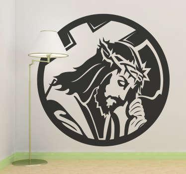 Vinilo decorativo medalla Cristo