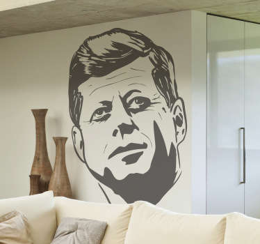 Detailed portrait sticker of the late US President John F Kennedy, who was assassinated in Dallas in the 60's.