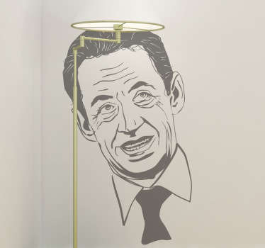 A sticker with a detailed portrait of the former president of the French Republic.