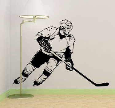 Hockey wall stickers - A monochrome design of a hockey player in action. Great sports wall sticker for fans of Hockey.