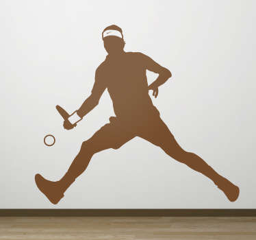 теннисист силуэт спортивная наклейка на стену