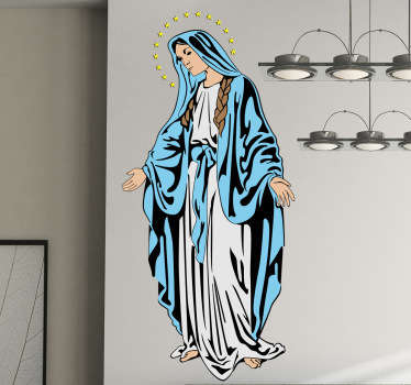 A Christian wall art sticker illustrating Virgin Mary. If you are looking for a religious decal to show your devotion then have found it!