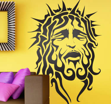 A Christian wall art decal illustrating a portrait of Jesus of Nazareth. Ideal for those that are looking for a religious sticker.